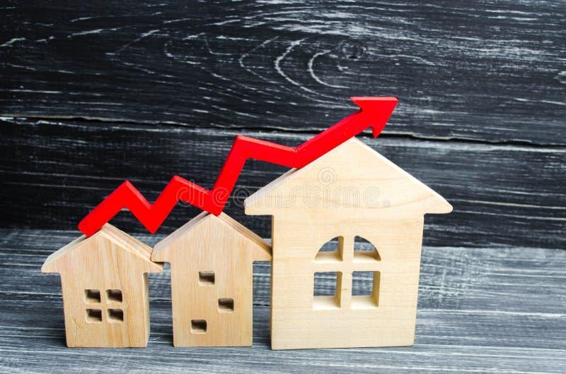 木房子从从小到大连续站立与一个红色箭头 概念的高要求房地产的 增加能量effi 免版税图库摄影