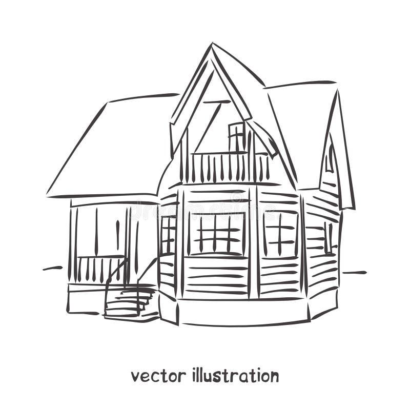 木房子传染媒介剪影. 手写, 铅笔.