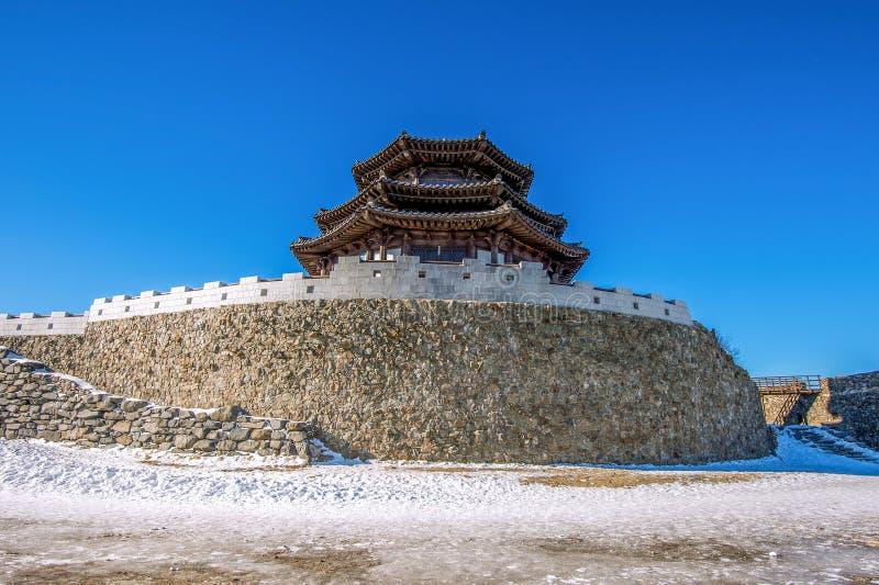 木房子在冬天, Deogyusan山韩国 库存图片