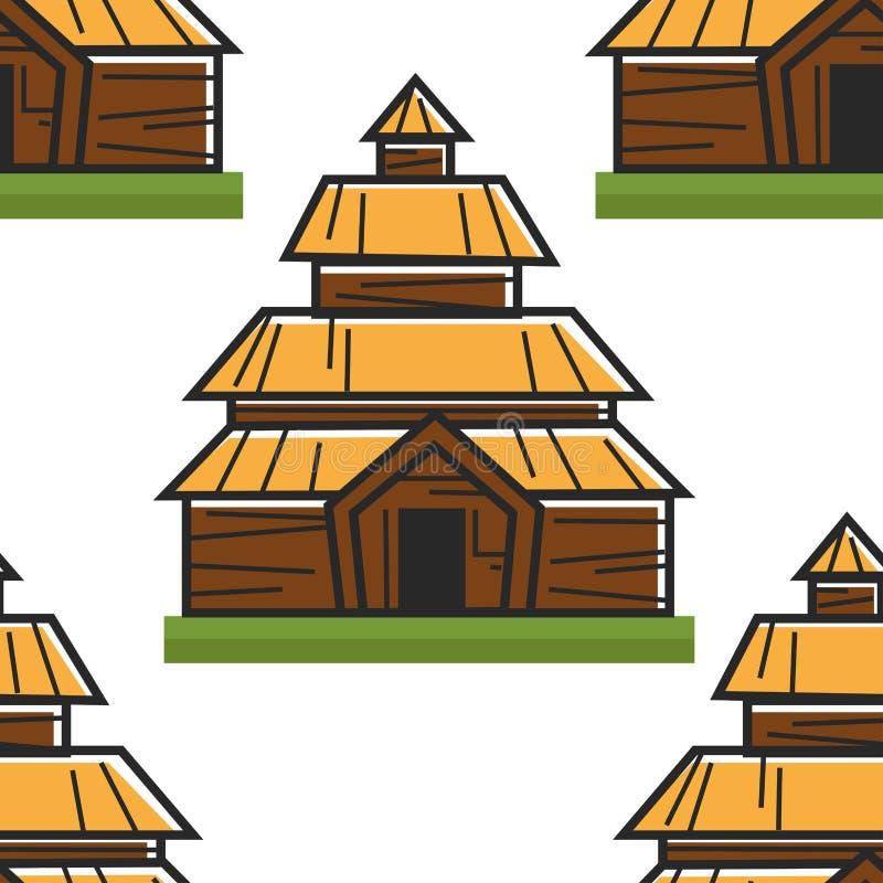 木房子挪威古老大厦无缝的样式 皇族释放例证