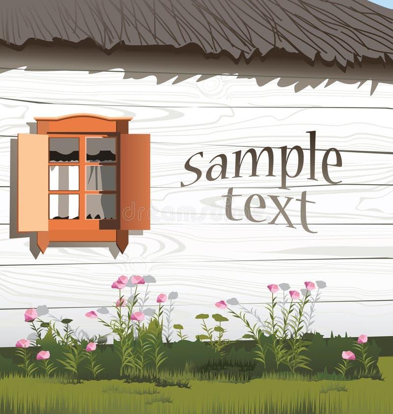木房子的墙壁有窗口的 库存例证