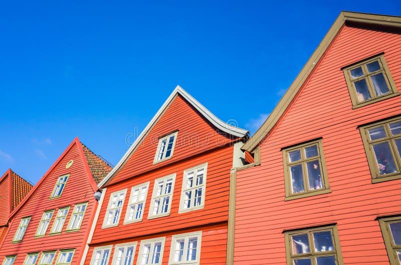 木房子,卑尔根布吕根,挪威 免版税库存图片