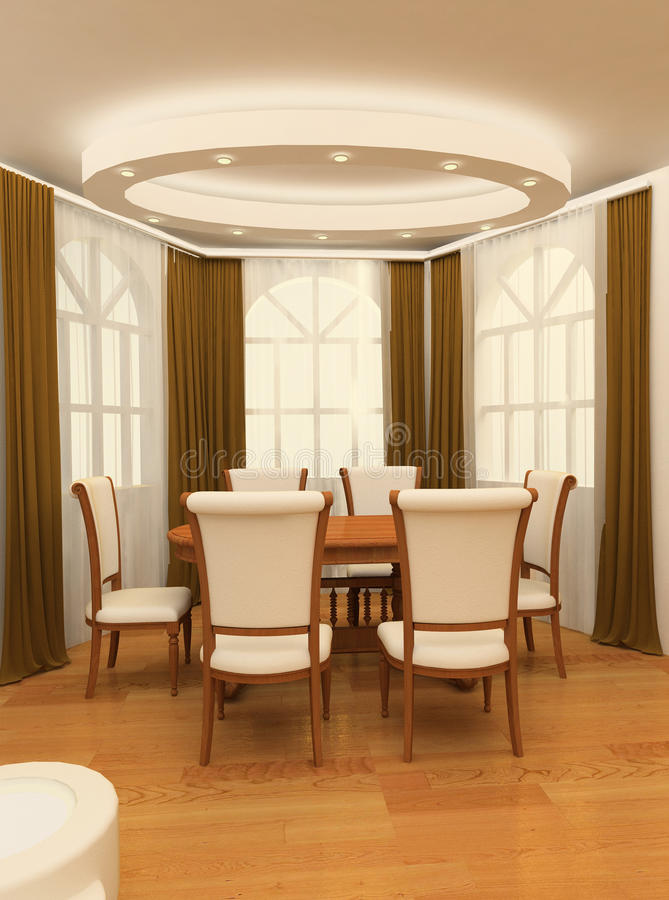 木扶手椅子大表的视窗 皇族释放例证