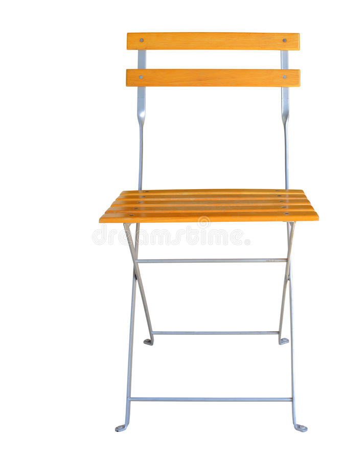 木折叠椅被隔绝在白色裁减路线 免版税库存照片