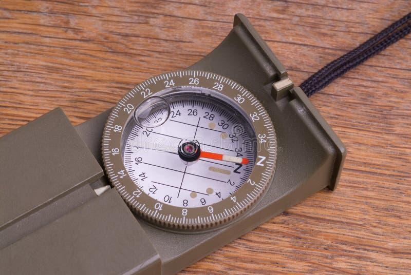木指南针军事样式的表 图库摄影