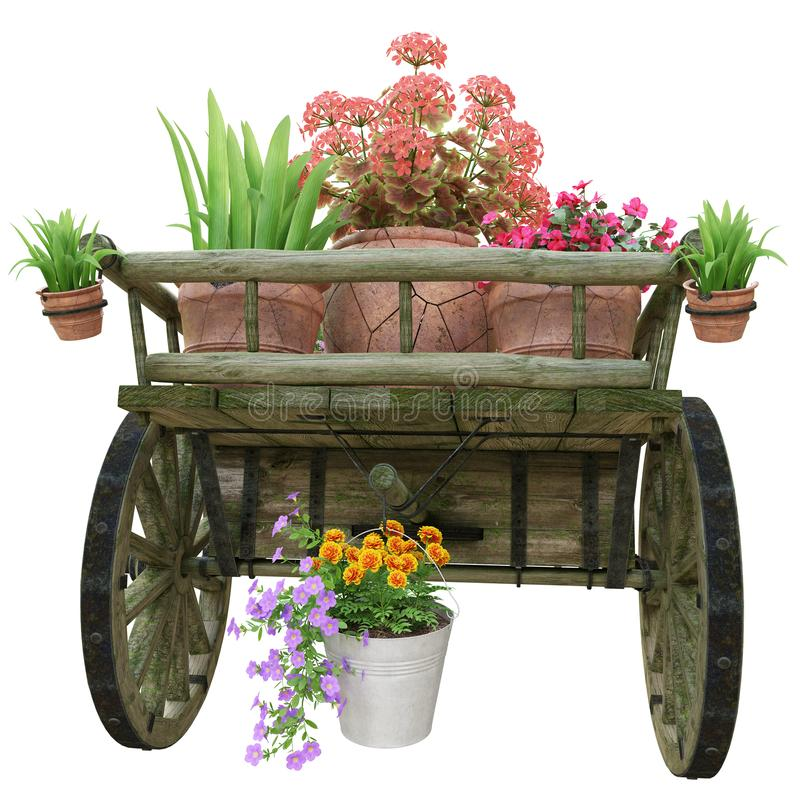 木推车和花盆 库存图片