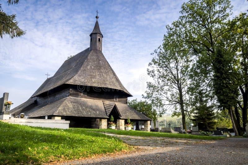 木教会在Tvrdosin,斯洛伐克 库存图片