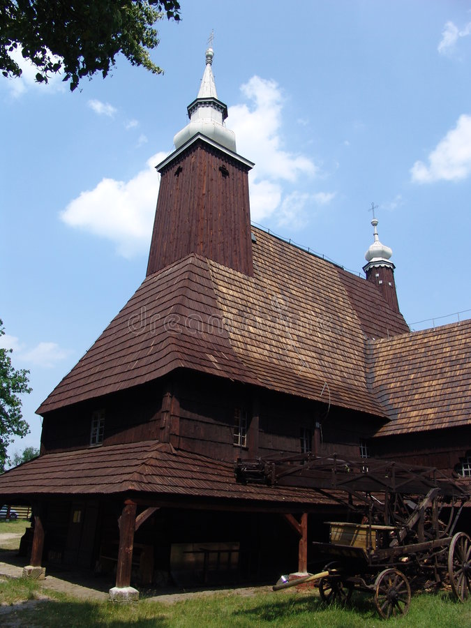 木教会的olesno 库存照片