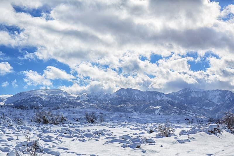 木教堂在北部一个多雪的森林的冬天 冬天在山村 免版税库存照片