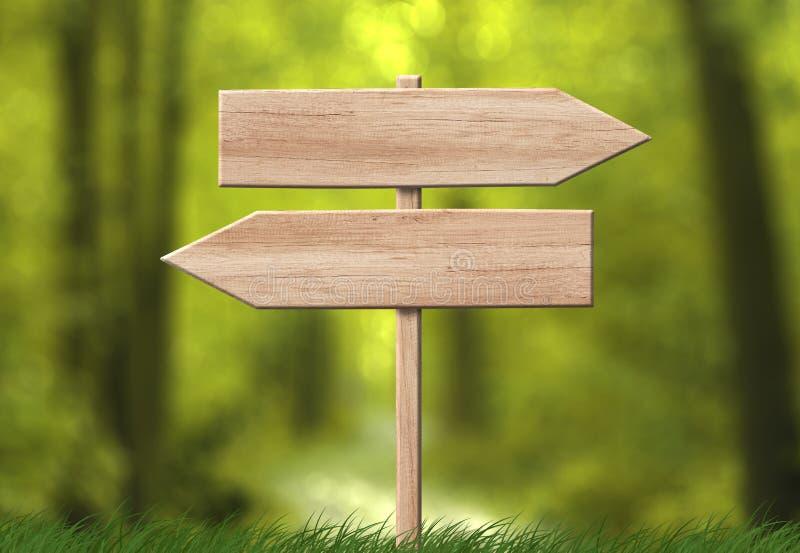 木方向双重箭头roadsign有森林背景 免版税库存照片