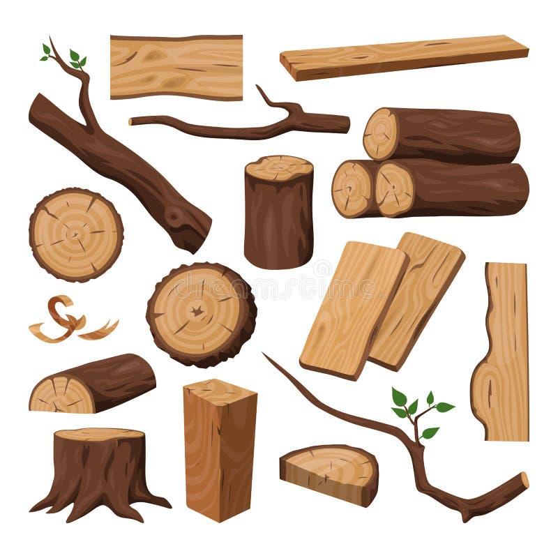 木日志、切好的树干、木材和树枝 向量例证