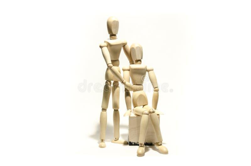 木时装模特夫妇和木立方体 图库摄影