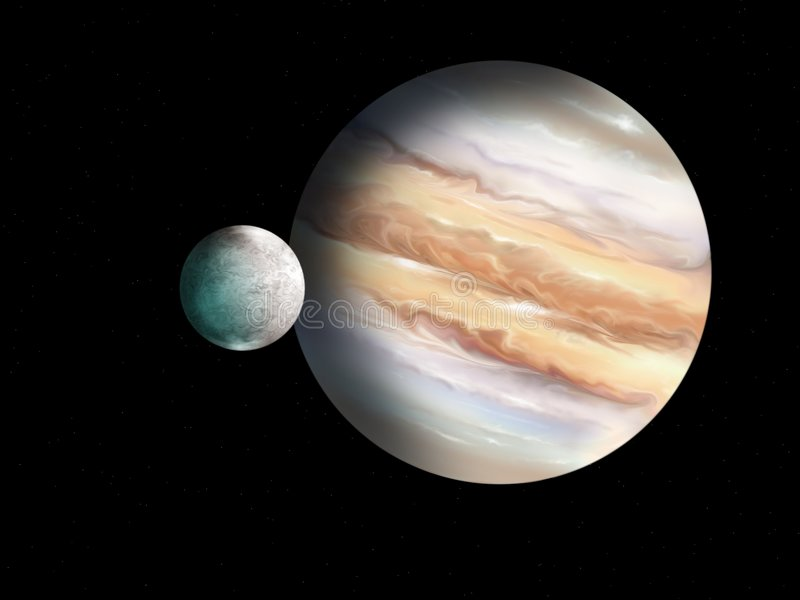 木星和月亮 库存例证