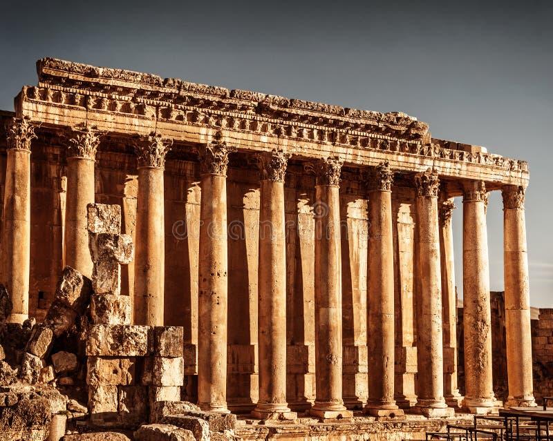 木星的寺庙,巴勒贝克,黎巴嫩 免版税图库摄影