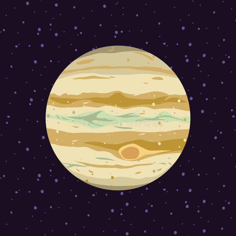 木星,太阳系行星动画片  天文学观测所和星宇宙 天文星系例证传染媒介 库存例证