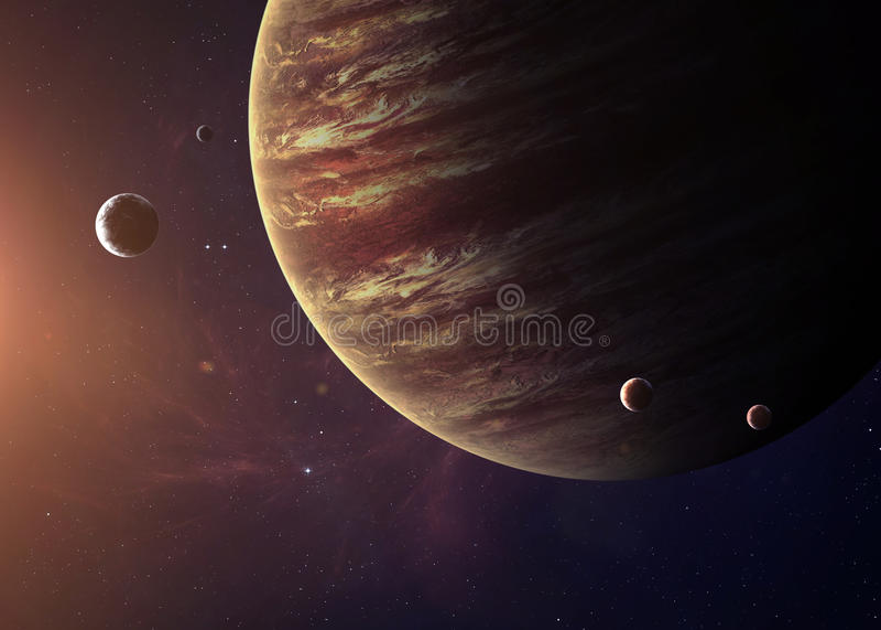 木星从显示所有他们的空间射击了 图库摄影