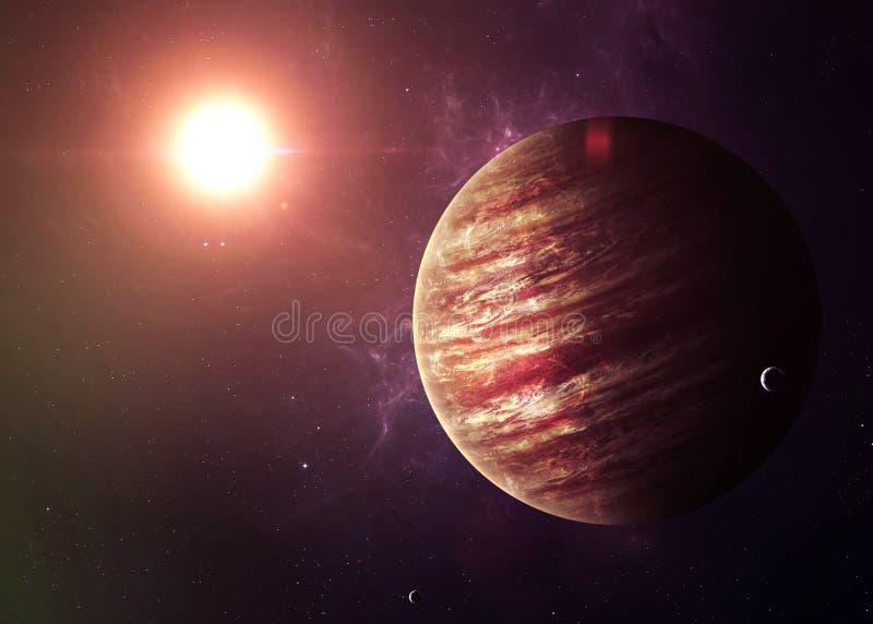 木星从显示所有他们的空间射击了 免版税库存照片