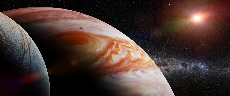 木星` s月亮欧罗巴、行星木星,银河和太阳3d例证横幅,这个图象的元素被装备 库存例证