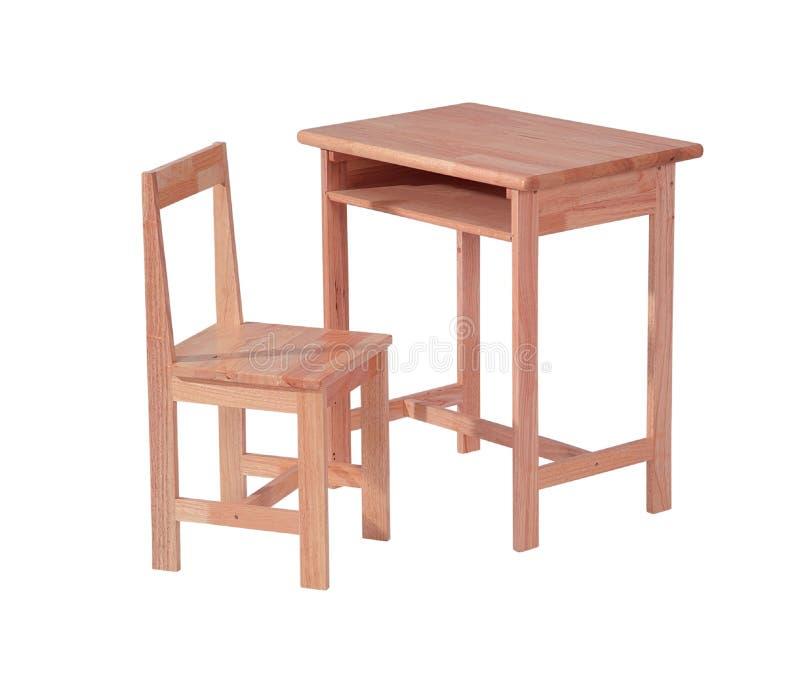 木服务台和椅子 免版税库存照片
