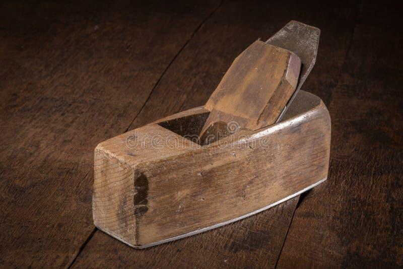木材加工和木匠业的老短刨 库存照片