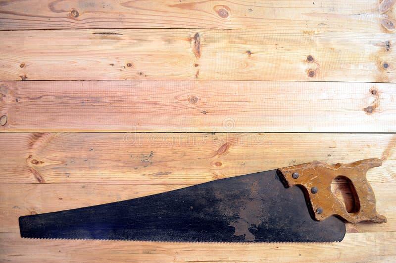 木材加工工具-手看见了 图库摄影