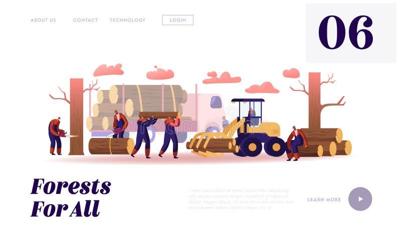 木材工人工作网站登录页 伐木工与卡车和设备伐林 向量例证
