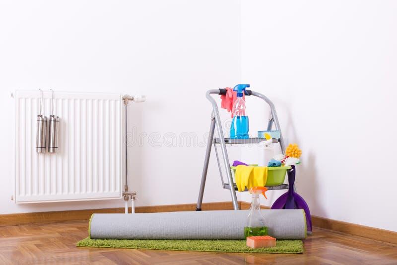 木条地板和地毯清洁 库存照片