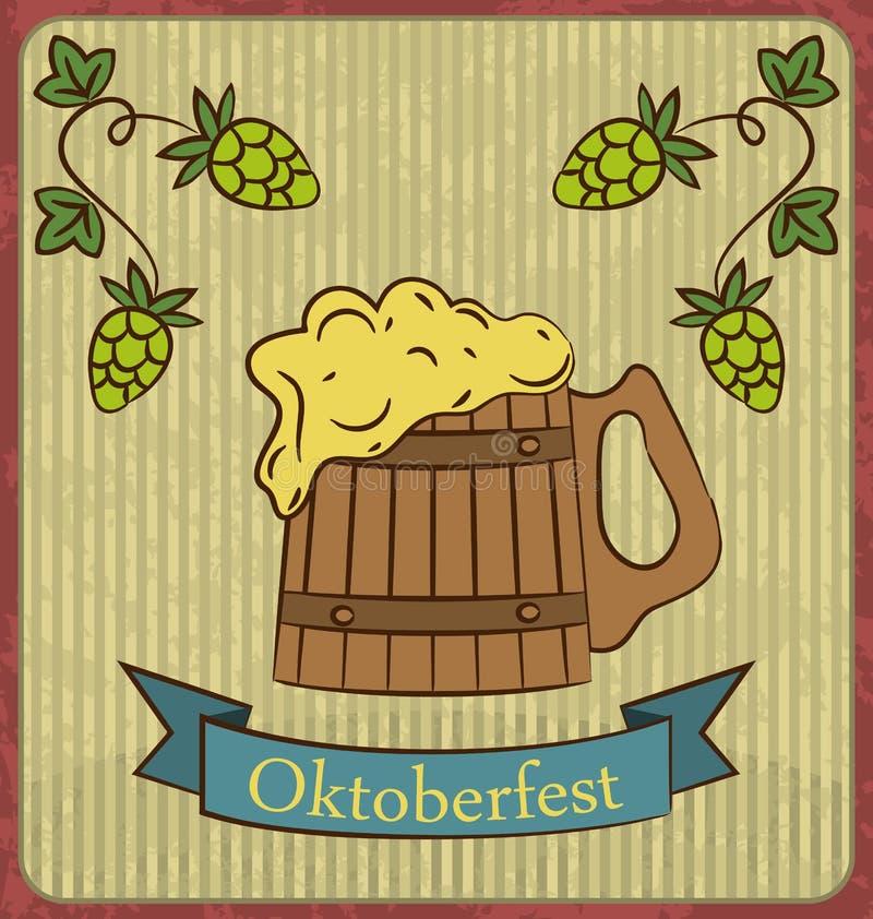 木杯子啤酒泡沫和蛇麻草 向量例证
