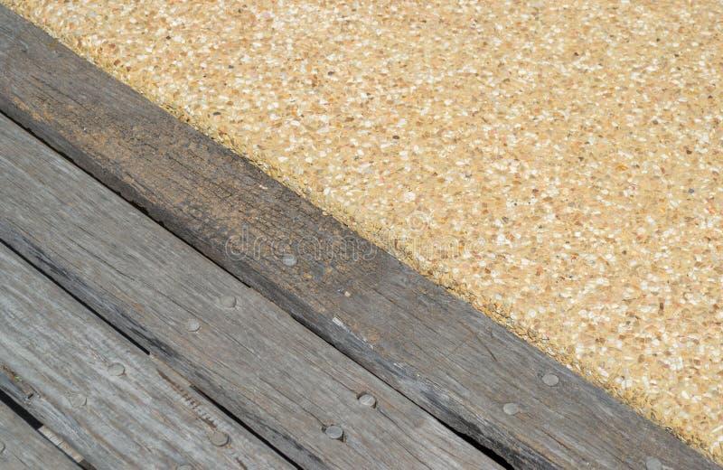 木板条和沙子纹理地板 免版税图库摄影