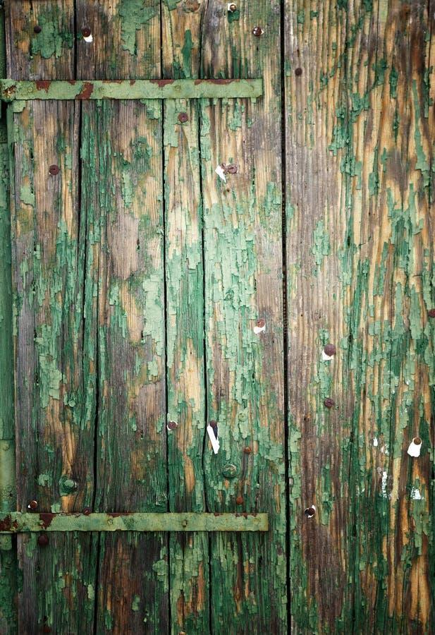 木板条特写镜头与削皮油漆,纹理背景的 图库摄影