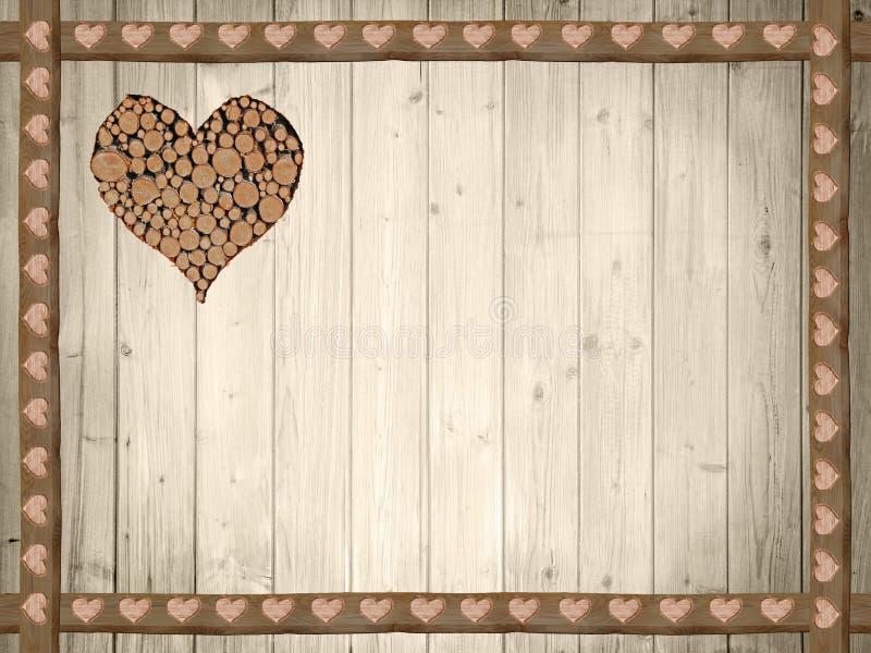 木板条背景,与心脏的木边界 免版税库存图片
