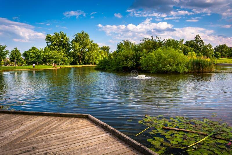 木板走道和池塘特森的在巴尔的摩,马里兰停放 免版税图库摄影