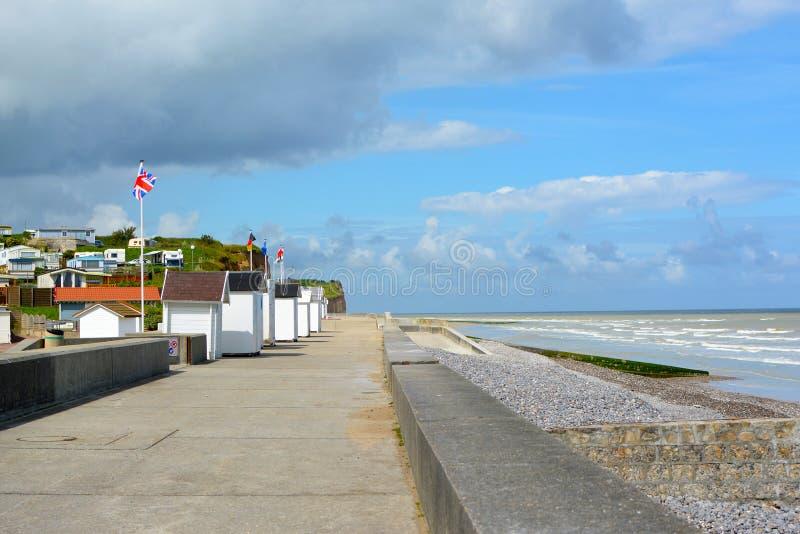 木板走道在滨海圣奥班在凯恩卡尔瓦多斯区在Basse Normandie法国西北部 库存图片