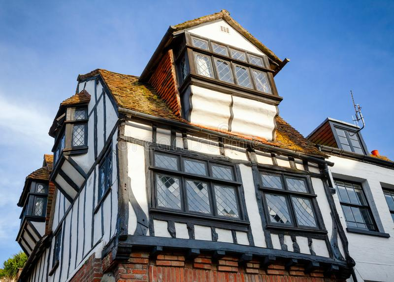 木构架的房子在海斯廷斯东萨塞克斯郡东南英格兰 库存照片