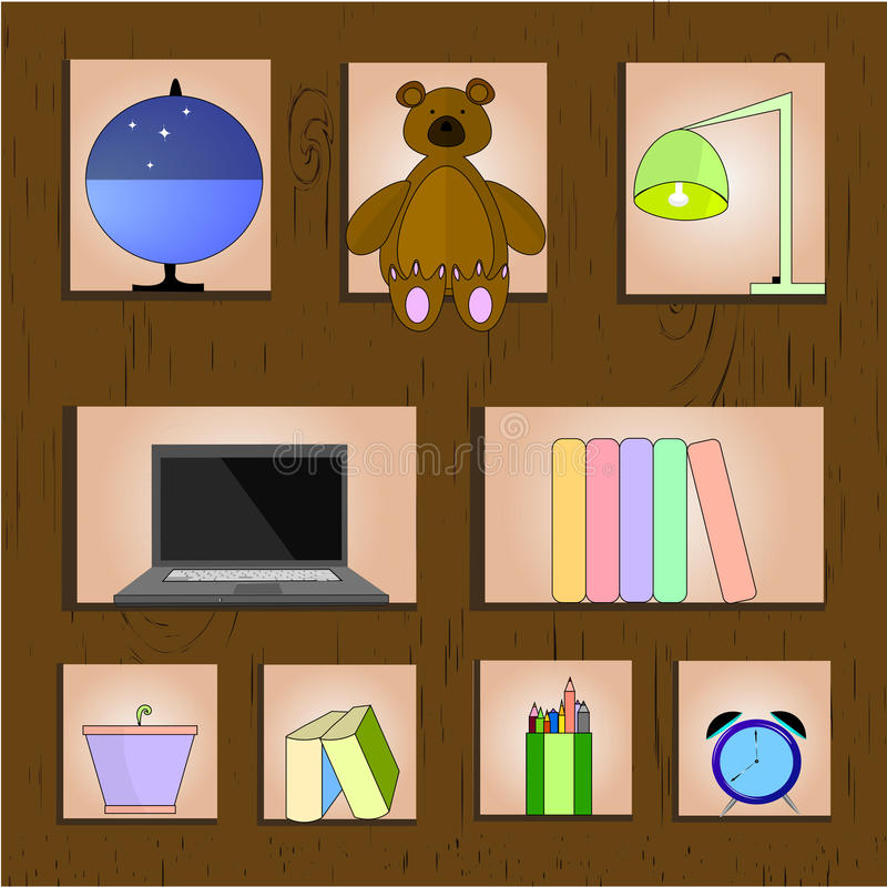 木架子传染媒介例证 在木背景的家庭相关材料 免版税库存照片