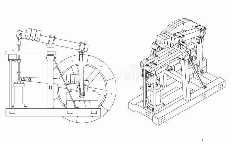 木柱仅引擎概述 皇族释放例证