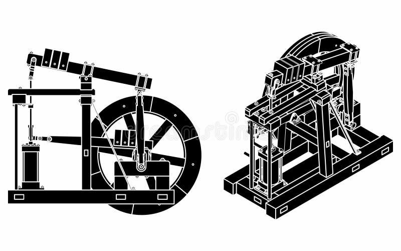 木柱引擎黑色积土 皇族释放例证
