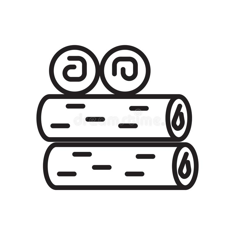木柴在白色背景、木柴标志、线性标志和冲程设计元素隔绝的象传染媒介在概述样式 向量例证