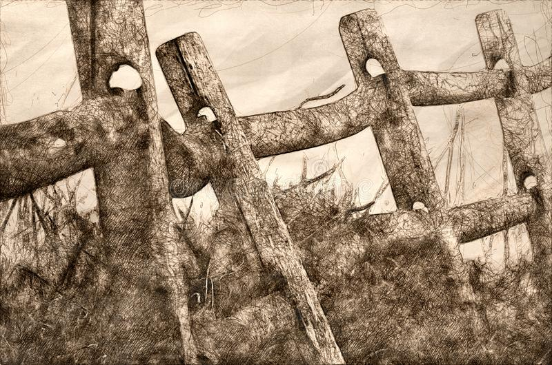 木栅栏剪影在一个有雾的春天早晨 向量例证