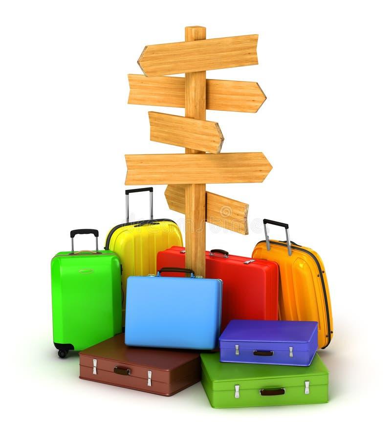 木标志板和旅行袋子 皇族释放例证