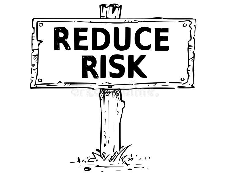 木标志板图画与减少风险文本 皇族释放例证