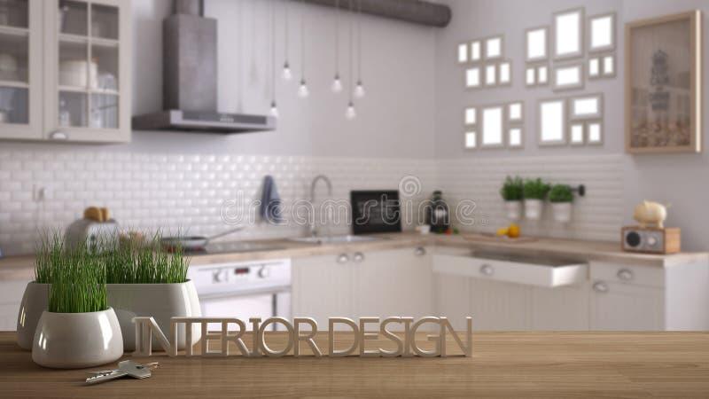 木桌、书桌或者架子与盆的草植物,房子钥匙和3D在做词室内设计上写字,在被弄脏的扫描 图库摄影