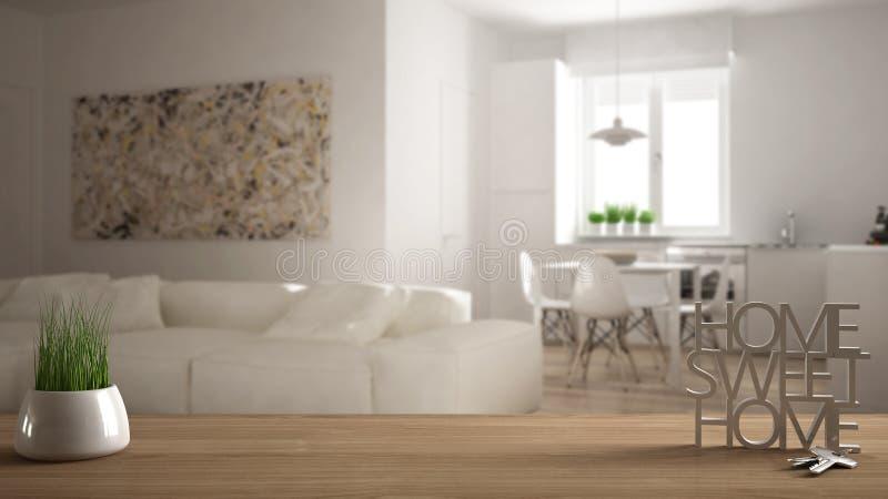 木桌、书桌或者架子与盆的草植物,房子钥匙和3D在做词家庭甜家上写字,在客厅 库存照片