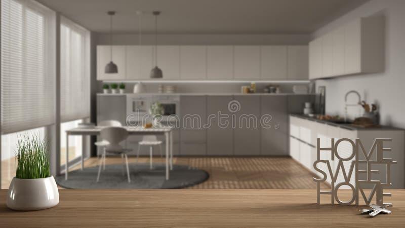 木桌、书桌或者架子与盆的草植物,房子钥匙和3D在做词家庭甜家上写字,在白色现代 向量例证