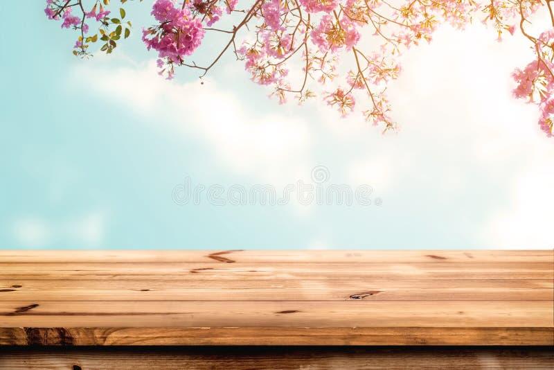 木桌上面与桃红色樱花花的在天空背景 免版税库存照片