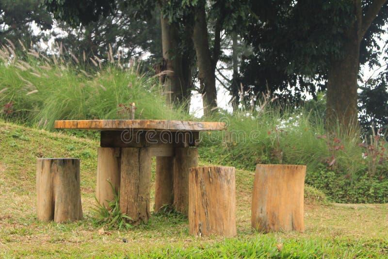 木桌和椅子 库存图片