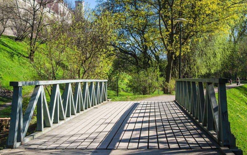 木桥在公园在塔林,一个春日 图库摄影