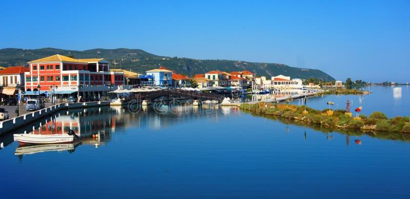 木桥在莱夫卡斯州镇 希腊 免版税图库摄影