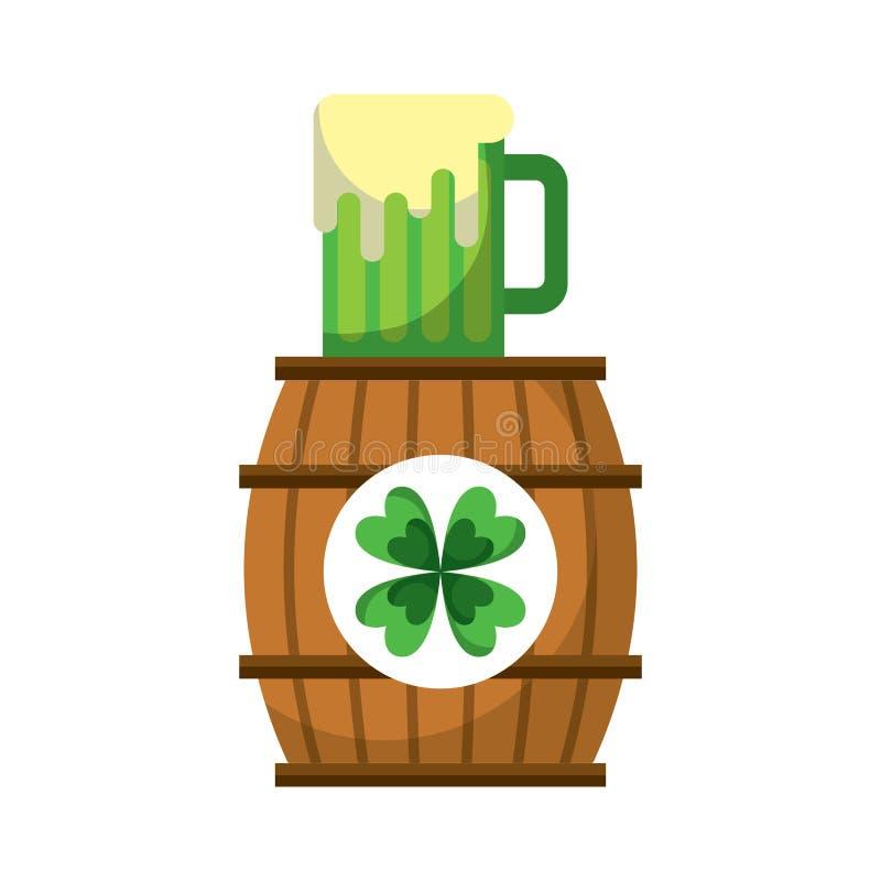 木桶三叶草用啤酒杯饮料 库存例证