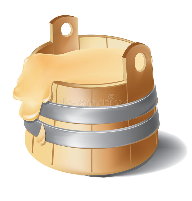 木桶与金属银钳位的蜂蜜 皇族释放例证